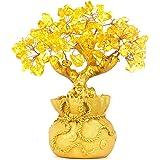 BWINKA فينج شوي السترين الطبيعي جوهرة كريستال أصفر شجرة المال مكتب المنزل للحظ الثروة ، أفضل هدية
