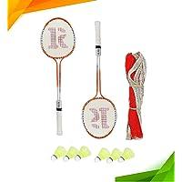 ROXON Phantom Double Shaft Iron Body Badminton Racket Pack of 2 Piece with 6 Piece Plastic Shuttle and 1 Piece Badminton…