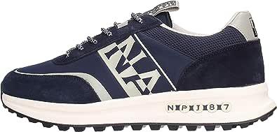 NAPAPIJRI Scarpe Sneakers Uomo Modello Slate in camoscio e Tessuto Nylon Blu con Logo Laterale Bianco. Fondo in Gomma Antiscivolo.
