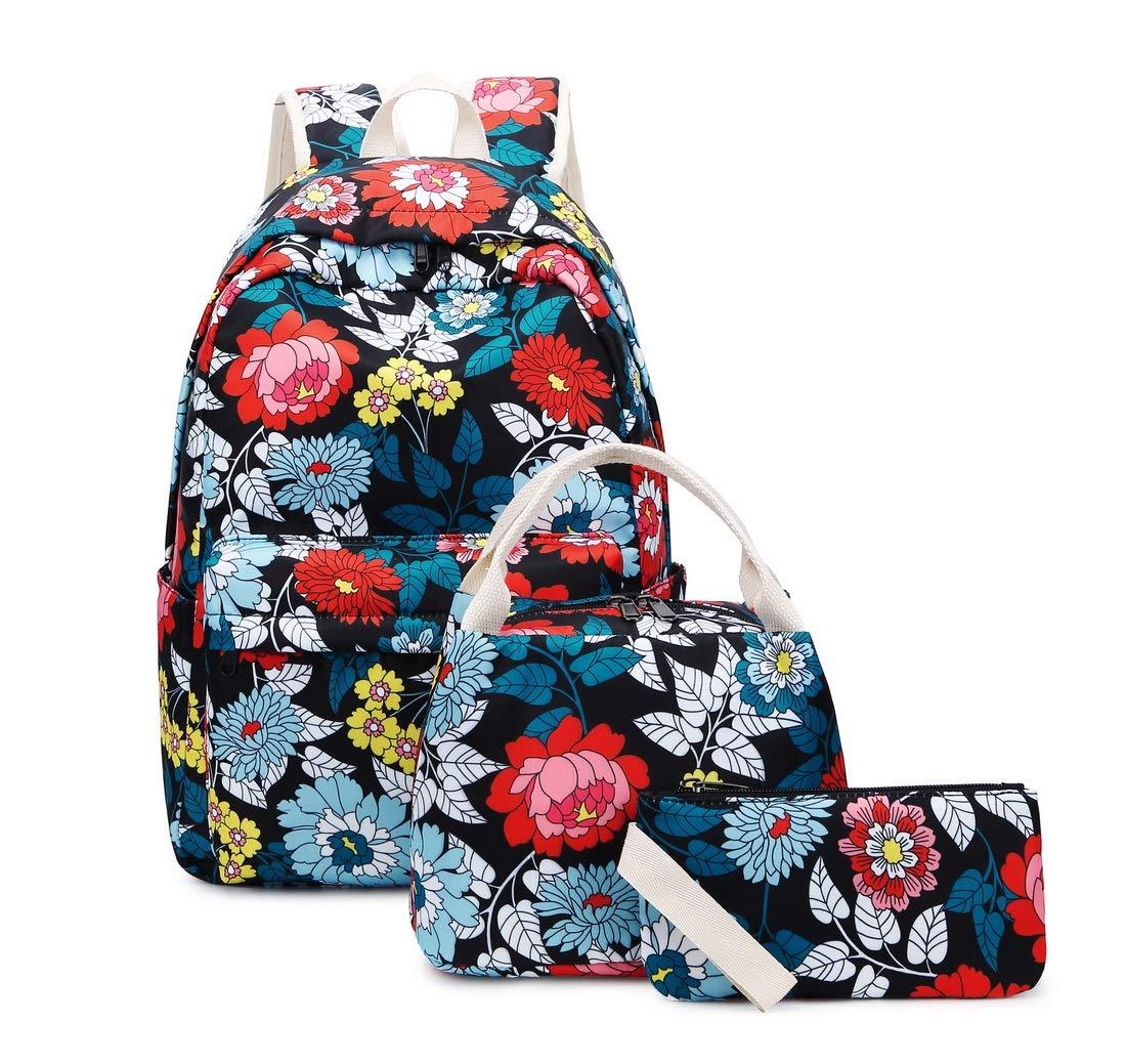 71vuuzwLxmL - Joymoze Mochila Escolar para Niña Adolescente con Bolsa Térmica para el Almuerzo y Estuche Flor Azul