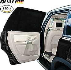 QUALIDE - Sonnenschutz Auto / Autoscheibenabdeckung (2er Set) | Sonnenschutz Auto für Beifahrer, Babys, Kinder und Haustiere | Universelle Größe für die hinteren Seitenfenster | Schwarz (Rechteckigen/Größe M)