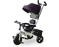 HOMCOM Triciclo Passeggino 2 in 1 Pieghevole per Bambini 18+ mesi con Seduta Imbottita, Maniglione e Cestino 92x51x110cm