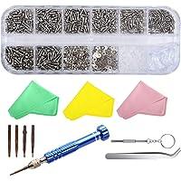 SUKUDON Kit de réparation de lunettes, tournevis en acier et plaquettes de nez 1100 vis pour iPhone, montre, bijoux…
