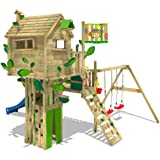 WICKEY Baumhaus Smart Treetop Kletterturm Spielturm mit Rutsche, Doppelschaukel und vielen Klettermöglichkeiten