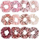 Scrunchies, hårsnoddar i sammet, Kapmore premium hårsnoddar, sammet elastiska hårband för kvinnor och flickor, 12 färger