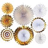 MUXItrade 8 PCS Gold Dekoration Papier Rosetten Deko Fächer Peach Deko-Serie,Paper Fan Set für Weihnachten Hochzeit Party Garten Kinderzimmer Deko