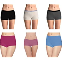 Pepperika Women's (Size Large) Full Coverage Soft Breathable Cotton Spandex Stretch Boyshort Underwear Boxer Briefs HipsterBoy Leg Panties (Pack of 6)