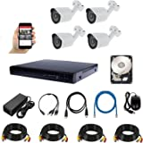 HD Security Camera,CCTV Surveillance System KIT — 4CH DVR, 4 Outdoor, 500GB Hard disk, Power Adapter, Cables 15M x 4,HDMI cab