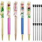 أقلام حبر جاف سائلة بالزهور كهدية من PASIBICK ، مجموعة زهور فريدة من نوعها من المعدن الفاخر