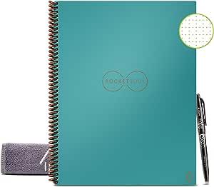 Rocketbook Core Quaderno Smart – Cancellabile, Riutilizzabile – Compatibile con Sistemi Cloud – Taccuino Digitale - Penna Pilot Frixion e Panno Inclusi (Alzavola, Letter A4, Puntinato)