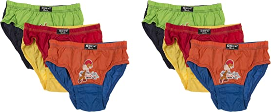 DORA Boys and Girls Cotton Cute Horizontal Briefs Style-1506 (Pack of 6) Color May Vary