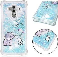 SHYHONG Kompatibel Huawei Mate 10 Pro Hülle+5D gehärtetem Glas Dynamischer Treibsand Transparent TPU Silikon Handyhülle Vier Eckluftkissen Schutzhülle Anti-Shock Bumper Cover(Elefant)