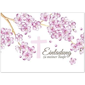 15 X Einladung Zur Taufe / Einladungskarten Mit Umschlag Im Set / Motiv:  Kirschblüten Rosa Mit Kreuz / Baby Taufkarte / Grußkarte / Postkarte /
