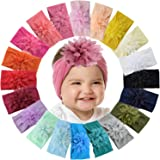 WillingTee 20 Colors 4 Inch Chiffon Flower Baby Girls Headbands Soft Elastic Nylon Hairbands Baby Bows Hair Accessories for N