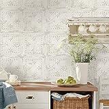 RoomMates Tin Tile White Peel and Stick Wallpaper