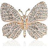 Belons Broche para pañuelos con diseño de mariposa, piedras de cristal incrustadas, ideal para bodas, banquetes o ramos de no