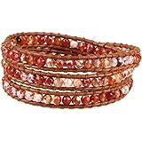 KELITCH Red Fire Agata Perline Strand Bracciali in Pelle 3 Wrap Braccialetto Nuovo Handmade di Cristallo Bracciali per Donne
