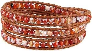 KELITCH Red Fire Agata Perline Strand Bracciali in Pelle 3 Wrap Braccialetto Nuovo Handmade di Cristallo Bracciali per Donne Ragazza