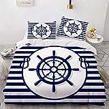 NEWAT Parure de lit avec housse de couette sur le thème nautique de l'océan, bateau, ancre, roue de bateau, boussole, lampe,