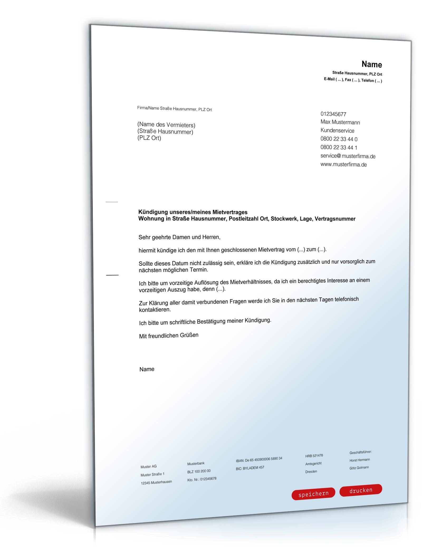 Kündigung Mietvertrag durch Mieter [PDF Download]