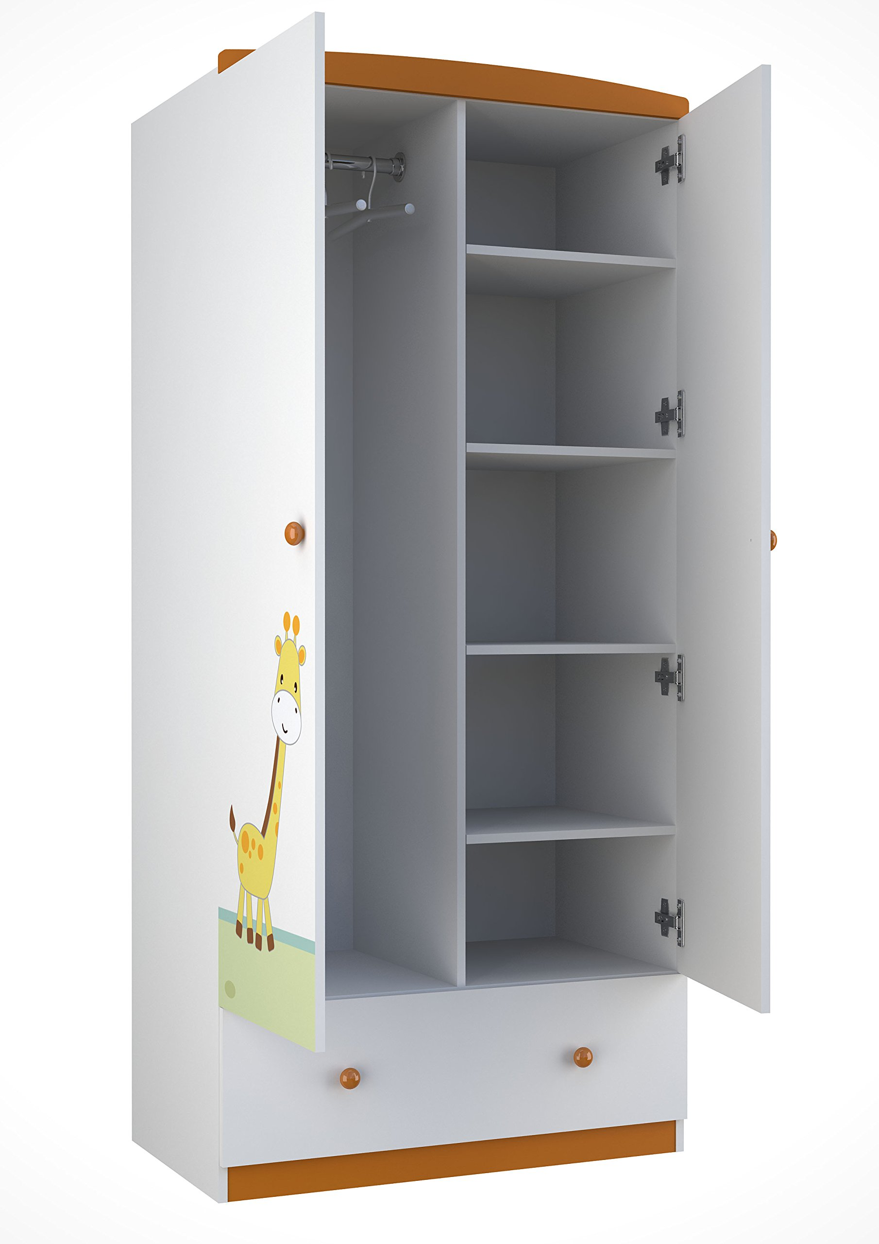 Polini Kids 0001189-1 Basic Collection 2-Section Wardrobe W/Drawers, White-Orange Polini Kids Spacious wardrobe with two sections Made of MFC chipboard from KRONOSPAN (Austria) Comes with 4 shelves and 1 clothes rail 1