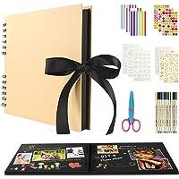 BOZHZO Album Photo Scrapbooking Traditionnel, 80 Pages Kit de Livre Photo Mémoire, 10 Couleurs Stylos Marqueurs et 8…