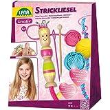 Lena Manualidades Completo con Liesel y Gancho Madera, Aguja Hilo en 3 Colores de 15 m, Juego de Punto para niños a Partir de
