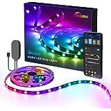 Govee RGBIC LED Strip, 2m wasserdichter LED Streifen steuerbar mit App, LED TV Hintergrundbeleuchtung Sync mit Musik, USB-Bet