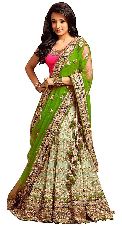 2af664511 Libra Enterprise Women s Green Color Embroidered Lehenga Choli (Green Free  Size)