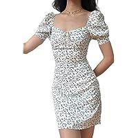 Mini Vestito Estivo da Donna Scollo a Barca Maniche Corte con Stampa Floreale Vestito da Cocktail Casual Sexy Slim…