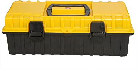 Lepose Plastic Compact Tool Box with Organizer (Yellow and Black)
