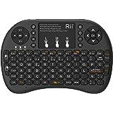 (Actualizado, Retroiluminado) Rii i8+ Mini teclado inalámbrico 2.4Ghz con touchpad integrado, retroiluminación Led y batería