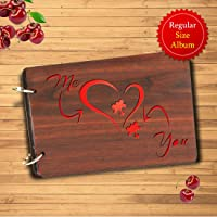 Sehaz Artworks Me You Piece of Heart Wooden Scrapbook Photo Album for Memorable Gift on Boyfriend Girlfriend Husband Wife Spouse Birthdays, Valentines Day, Anniversary, Monthsary for Couples
