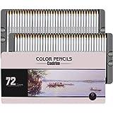 Juego de 72 Lápices de Colores, Cadrim Crayones con Caja de Metal para Artistas Adultos, Libros para Colorear o Útiles Escola