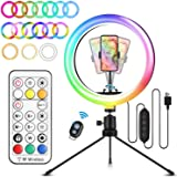 """ELEGIANT Aro de Luz Trípode LED, Anillo de Luz 26 Colores RGB de 10.2"""" 3 Modos de iluminación, Brillo Ajustable con Control R"""