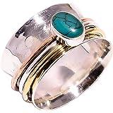 Lavie Jewelz, anello in vero argento Sterling 925, con trama martellata, multi spinning, anello da donna, anello da meditazio