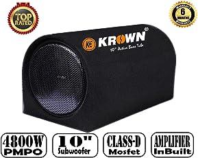 Krown 4800W PMPO Bass Tube with Inbuilt Class-D Amplifier & 10 inch Subwoofer (D Shape)