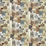 Cretonne Landhaus Collage Santal — Meterware ab 0,5m — Oeko-Tex Standard 100 — Zum Nähen von Outdoor-Deko, Kissen und Tagesdecken und Taschen