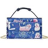 Damen Kleine Crossbody Tasche Handy Geldbörse Geldbeutel mit 5 Kartenfächern Handtaschen mit Kettenriemen für Frauen und Mädc