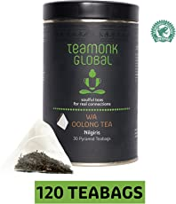 Teamonk Nilgiri Oolong Tea, 30 Teabags-Pack of 4 | 100% Natural Whole Leaf Teabags for Weight Loss | Wa Oolong Tea| No Additives