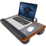 Tukzer Lap Desk Fits up to 17-Inch Laptop Angled Pillow Cushion with Built-in Mouse Pad & Phone Holder (Bamboo Wood)