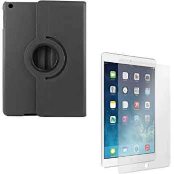 DMG PU Leather 360 Degrees Rotating Stand Case for Apple iPad Air 2 iPad 6 (Black) + Tempered Glass Screen Protector