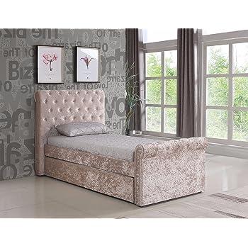 premium selection ebb5b 9abe2 3ft / Single Crushed Velvet Fabric Bed Frame Selina Gold with Trundle