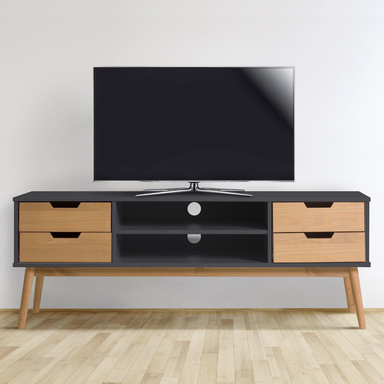 Meuble Tv Java 1 Porte Et 2 Tiroir Gris Anthracite Amazon Fr  # Porte Televiseur En Bois