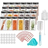 GEEDIAR Lot de 24 pots à épices carrés en verre avec couvercle - 120 ml - Saupoudreur à épices avec différents saupoudreurs -