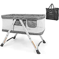besrey 2 in 1 Travel Cot with Matress Included, Baby Bed with Swing+Wheels Foldable Collapsible Bassinet Bed Net