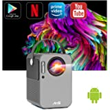 Beamer Smart Android, Artlii Play Pro WiFi Bluetooth Projector, Mini Beamer 1080p Full HD Ondersteund, Stereo Sound, 4D±45° C