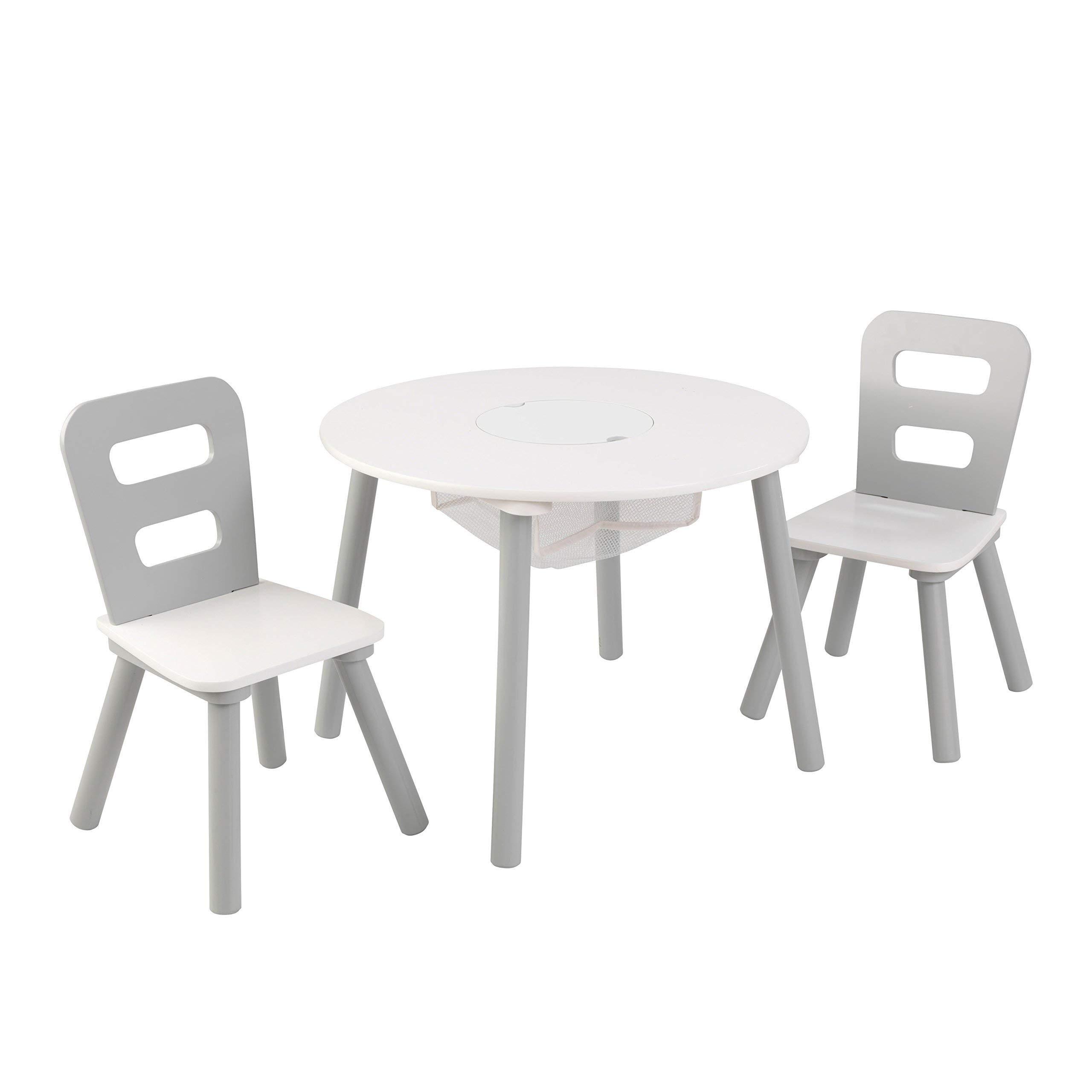 KidKraft 26166 Set Tavolo Rotondo con 2 Sedie in Legno, Mobili per Camera  da Letto e Sala Giochi per Bambini - Grigio e Bianco