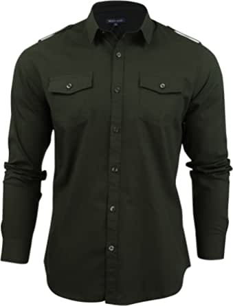 Mens Brave Soul Charlie Designer Shirt Long Sleeved Button Up Collared Top