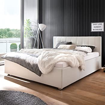 lederbetten polsterbett designer leder bett doppelbett modell in wei 140x200 160x200 180x200. Black Bedroom Furniture Sets. Home Design Ideas